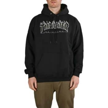 Thrasher Flame Logo Pullover Hoodie - Black/Black