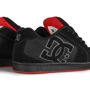 DC Net Low Top Skate Shoes - Black/Black/Red