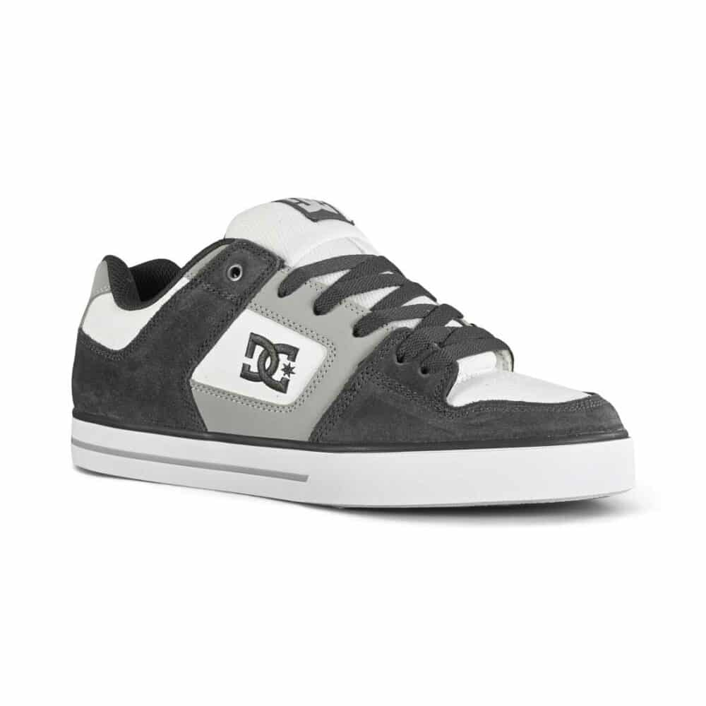 DC Pure Low Top Skate Shoes - Grey/White/Blue