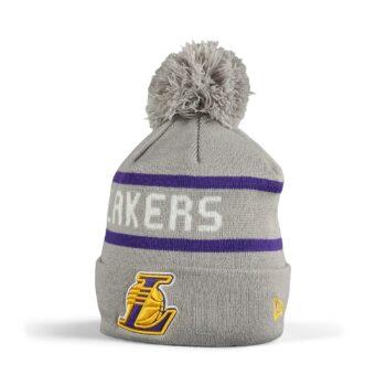New Era LA Lakers Jake Bobble Cuff Knit Beanie - Grey