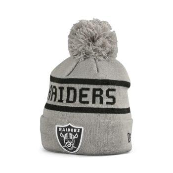 New Era Las Vegas Raiders Jake Bobble Cuff Knit Beanie - Grey