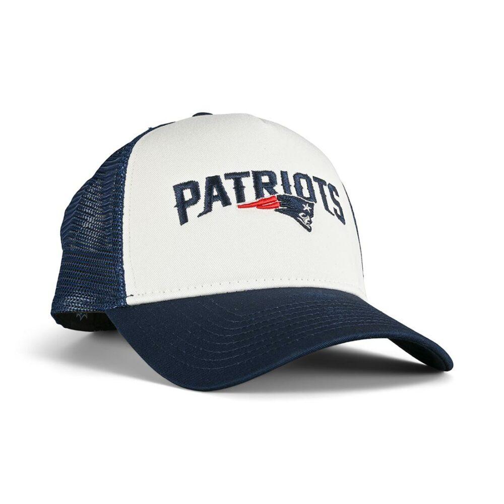 New Era New England Patriots Team Arch 9FORTY A-Frame Trucker Cap - Blue