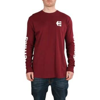 Etnies Icon L/S T-Shirt - Burgundy/White