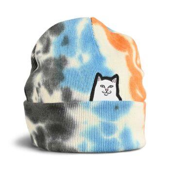 RIPNDIP Lord Nermal Beanie Hat - Grey/Blue/Orange Tie Dye