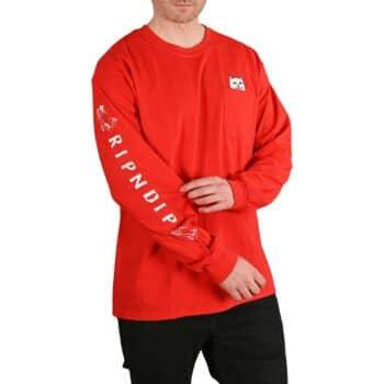 RIPNDIP Lord Nermal L/S Pocket T-Shirt - Cherry Red