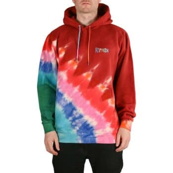 RIPNDIP OG Prisma Embroidered Pullover Hoodie - Red Tie Dye