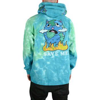 RIPNDIP Save The World Pullover Hoodie - Aqua/Green Tie Dye